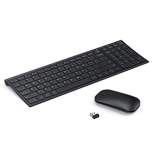Wireless Keyboard and Mouse Combo, Seenda Ultra Small Low Profile Rechargeable Wireless Keyboard and Mouse for Windows Devices (Black Wireless Keyboard Mouse)