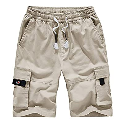 Men's Cargo Shorts Elastic Waist Drawstring Cotton Casual Outdoor Lightweight Shorts with Multi Pockets