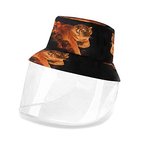 Alarge Fischerhut mit abstraktem Feuer und brennendem Tiger, Anti-Staub, Sonne, UV-Schutz, Fischerhut, Kappe mit abnehmbarem Gesichtsschutz, für Männer und Frauen, Outdoor Gr. S, multi