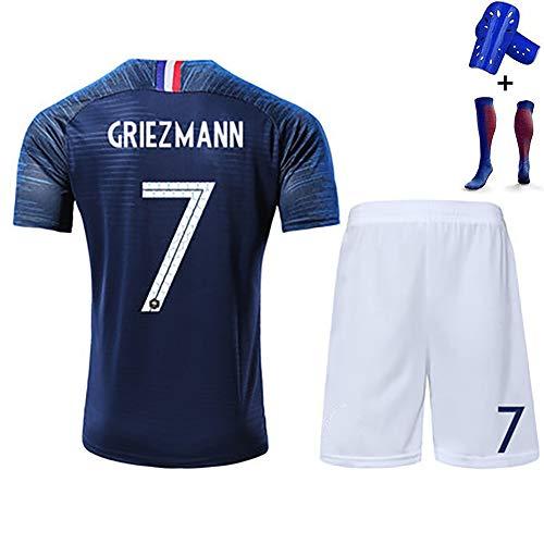 Kinder-Fußball-T-Shirt für Erwachsene, Mbappe Giroud Griezmann, französisches und internationales Trikot-Kit, Polyesterfaser, mit Socken, wiederwaschbar-blue7-110