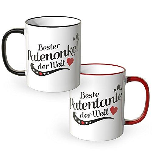 WANDKINGS® Tasse, Spruch Patentante der Welt Patenonkel der Welt, 2 Stück im Set, ideales Geschenk für die Verwandtschaft