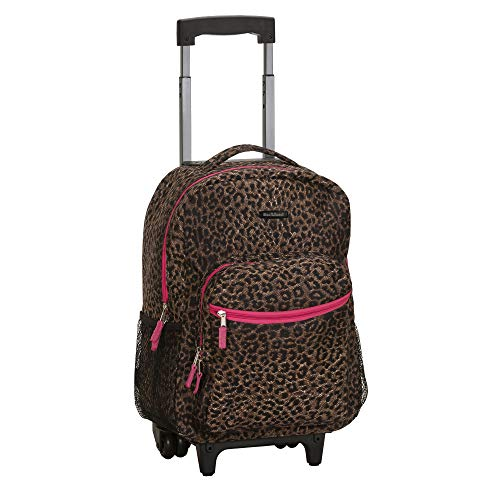 Rockland Double Handle Rolling Backpack, Pink Leopard, 17-Inch