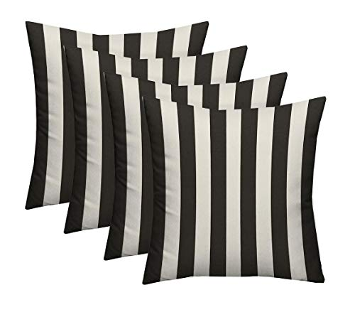 RSH Décor Set of 4 - Indoor/Outdoor Black & White Cabana Stripe Decorative Square Throw/Toss Pillow - Choose Size and Choose Color