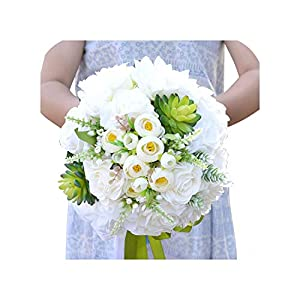 Joyfeel-light Bridal Bouquet Combined Silk Spray Roses Peony Flower Succulents with Ranunculus Wedding Bouquet
