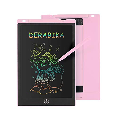 DERABIKA Girls Gifts for 3 4 5 6 Year Old Girls, 11 Inch LCD Writing Tablet Doodle Board, Colorful Drawing Board Drawing Tablet Kids Learning Toys for Age 2-7 (Pink)