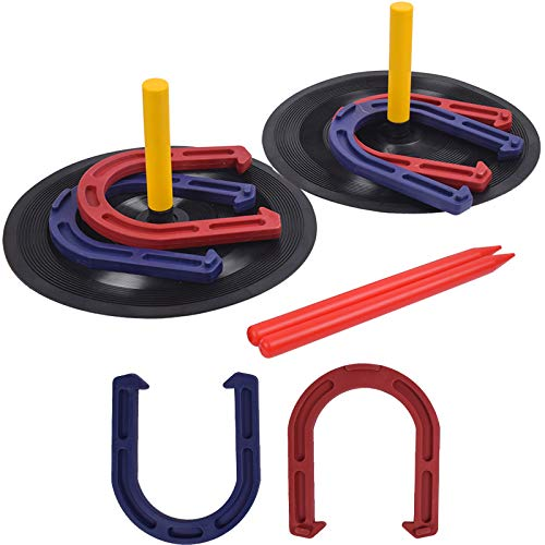 Outdoor Backyard Horse Shoes Games Set for Kids and Adult Indoor Family Lawn Yard Outside Game Includes 6 Horseshoes - 2 Pegs - 2 Rubber Mats - 2 Red Plastic dowels