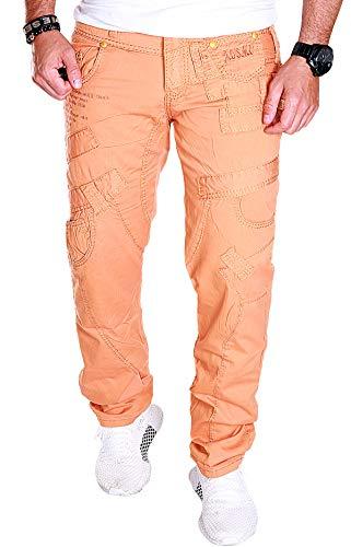 Kosmo Lupo Herren Jeans Hose Clubwear Freizeit Denim J.2.1 (Orange (J.2.1 KM114), W30/L32)