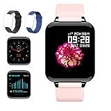 (2020 Nuevo) Reloj Deportivo, Sendowtek Reloj Inteligente para Android y iOS Móvil, con Monitor de Frecuencia Cardíaca y Presión Arterial, Monitor de Sueño, Recordatorio de Información y Contador de Pasos A Prueba de Agua, Más dos Correas