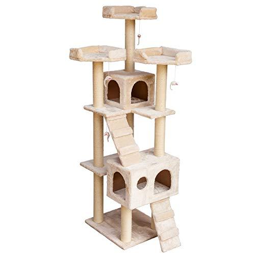 VOSS.PET Luxus XXL Kratzbaum Ollie 1,86 m, Creme, Katzenbaum, Katzenkratzbaum, Kratzmöbel Katzenspielbaum, Kletterbaum