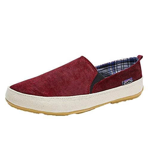 Zapatos Casuales para Hombre, Zapatos de Lona deslizantes Bajos Retro de Color sólido, Mocasines Planos Antideslizantes Ligeros y Transpirables