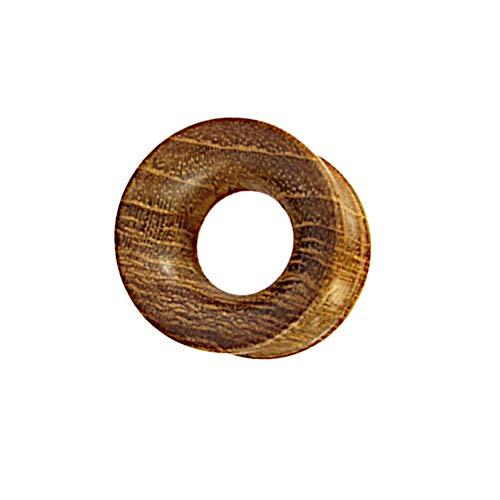 CHICNET Flesh Tunnel Plug Ohr Lobe Piercing Dehner aus Teakholz Holz braun gemasert Tribal Organic Ribbed Ohrtunnel handgeschnitzt Damen Herren Straight Expander 5mm bis 25mm 05 mm