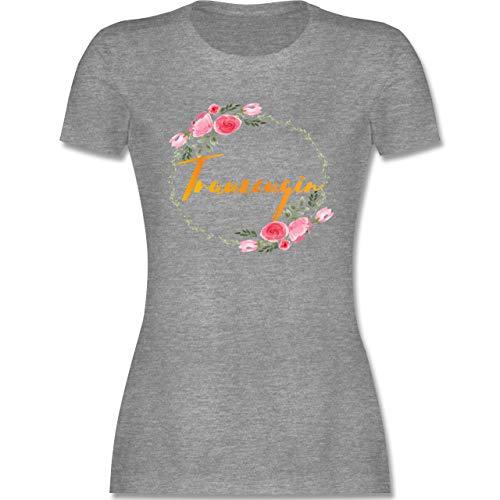 Hochzeit - Trauzeugin - XXL - Grau meliert - Trauzeugin Shirt - L191 - Tailliertes Tshirt für Damen und Frauen T-Shirt