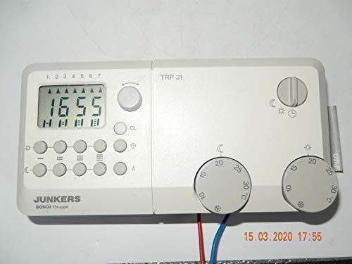 JUNKERS TRP 31 - Termostato para habitación con temporizador digital e instrucciones de uso como PDF y soporte de pared, diseño oficial sin usar