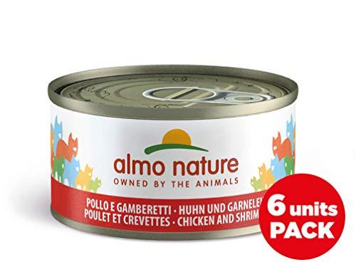 Almo Nature Megapack con Pollo e Gamberetti -Cibo umido naturale per gatti adulti (6 x 70gr-lattina)