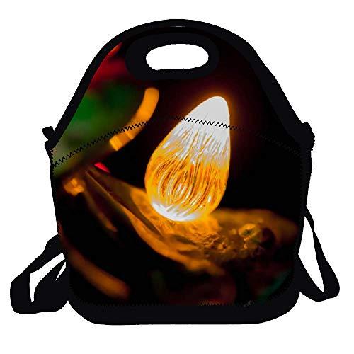Feddiy Macro-photo of Light Bulb Reusable Lunch Bags Boxes For Men Women Adults Kids Toddler Nurses With Adjustable Shoulder Strap - Best Travel Bag