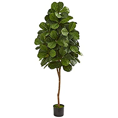 Nearly Natural 5550 6' Fiddle Leaf Fig Artificial Tree Plant, Green
