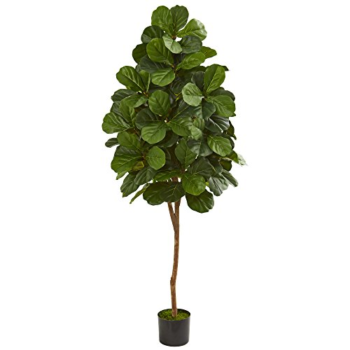 Nearly Natural 6' Fiddle Leaf Fig Tree Artificial Plant, Green
