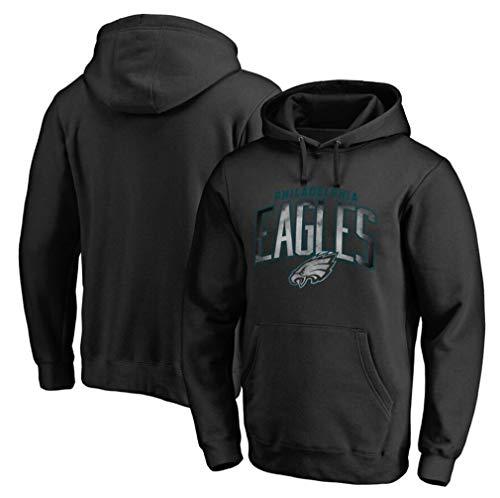 FMSports Männer NFL Hoodies - Philadelphia Eagles Football Team Uniform Pulloverhoodies, Langarm-3D-Logo Digital Print Sweatshirt Balck,XL~175~180CM