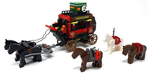 Brigamo Carruaje postal occidental con caballos y vaqueros minifiguras