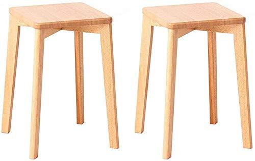 JIEER-C vrijetijdsstoel van hout, rond, zonder rugleuning, stapelbaar, antislip, multifunctioneel, voor thuis, creatief, duurzaam 2 pieces Houtkleur.