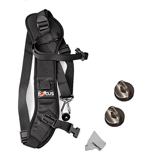 Fomito Quick Rapid Schulter Sling Gürtel Neck Strap & 2pcs Schraube Mount für Kamera DSLR SLR DV Schwarz
