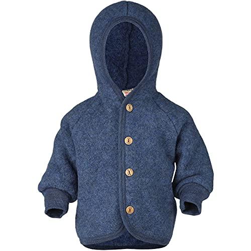 Engel Baby Jacke mit Kapuze Wollfleece, 86-92/86/92, blau Melange