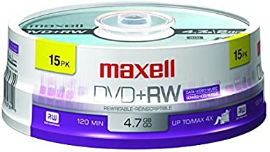 Maxell 634046 Rewritable Recording Foramt Superior Archival Life 4.7Gb DVD+RW Disc Archive and Capture High Capacity Files