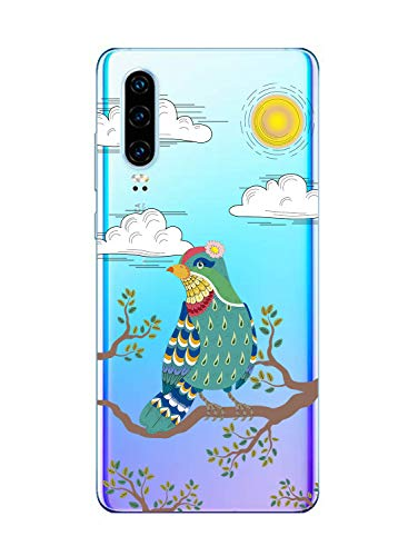 Oihxse Mode Case Compatible pour Huawei Honor 8 Lite Coque Transparent Silicone Gel TPU Bumper Animal Motif Dessin Cover Ultra Mince Crystal Clear Antichoc Protection Couverture,Oiseau