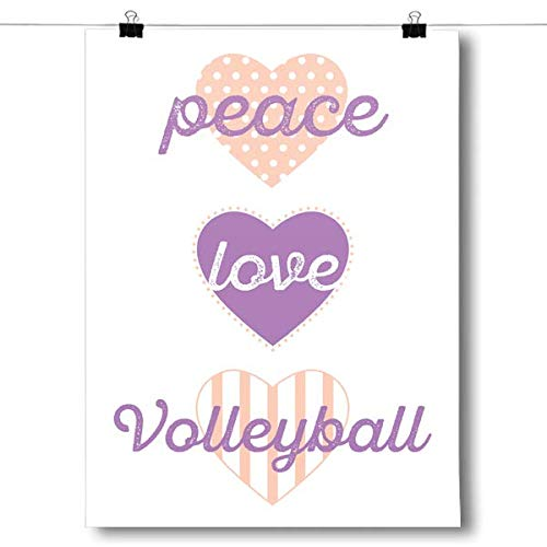 Inspired Posters - Peace, Love, Volleyball Decorative Wall Art Poster - Modern Home Decor - Motivational Posters - UV Print 18 x 24 Poster
