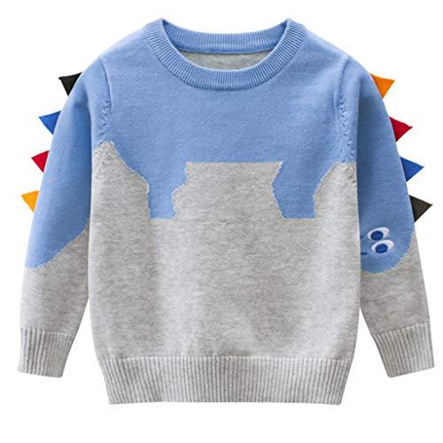 Bébé Garçons Filles Pull en Tricot Hiver Hauts Enfants Sweat à Manches Longues Cadeaux Mignons Vêtements 3-4 ans, Bleu