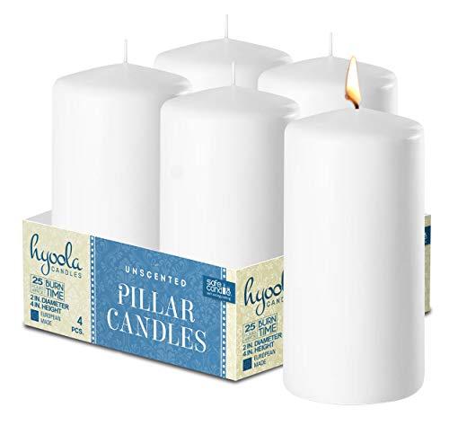 HYOOLA - Velas de pilar blancas (5 x 4 cm, 4 unidades), color blanco