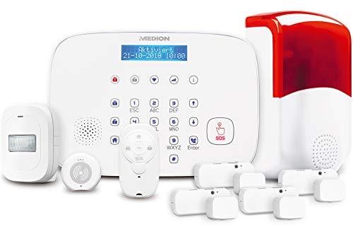 Medion Alarmsystem P85774 (MD90774)- die Intelligente Sicherheitslösung für Ihr Zuhause Alarmzentrale Tür-/Fensterkonatkt Bewegungsmelder Erschütterungssensor Fernbedienung Aussensirene
