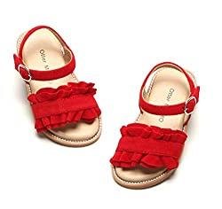 professional Otters MOMO Girls Sandals Open To Princess Flat Sandals Summer Sandals with Ruffles …