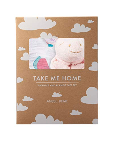 Angel Dear Swaddle and Blankie Gift Set, Watermelon with Unicorn