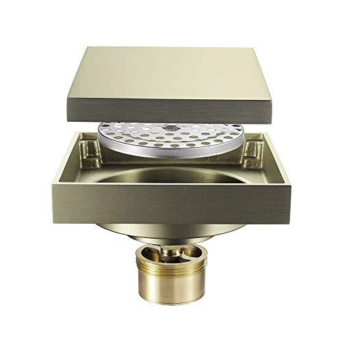 DYR Kupfer Deodorant Bodenablauf, Badezimmer Küche Quadrat Unsichtbarer schwarzer Spiegel Bodenablauf, Badezimmer Schädlingsbekämpfung, Anti-Wasser und Deodorant, BrushedGold