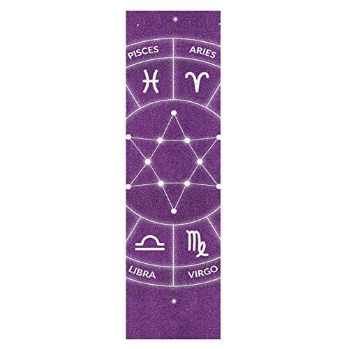 Arte Púrpura Constelación Del Zodíaco Monopatín Papel de Lija Antideslizante Hoja Cinta de Agarre Lijas para Patineta Scooter Etiquetas engomadas (84 x 23 cm)
