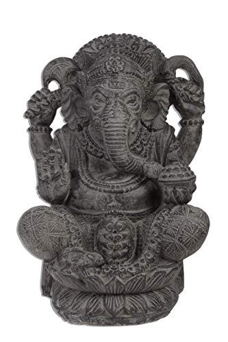 Ca. 55 bis 60cm Gamesha Stein Buddha Antik Look Hindu Massiv Steinfigur Skulptur Feng Shui Garten Deko Wetterfest Lava Stein aus Bali Elefant Ca 50-60...