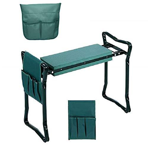 ZT Banc de jardin pliable avec repose-genoux léger et repose-genoux doux avec poches latérales pour outils
