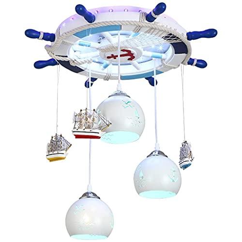 N/Z Home Equipment Creative Chandelier Boy Pirate Rudder Bedroom Lights