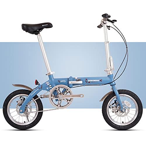 RUZNBAO Bicicleta Plegable La Bicicleta Plegable pequeña se Puede Poner en el Tronco.Varios Colores.14 Pulgadas.Adecuado para el Trabajo, la Escuela y el Juego. (Color : Blue)