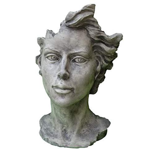 Skulptur Portrait Gesicht Frau H90cm Steinguss Steinfigur Antik Grau Vidroflor Gartenskulptur + Original Pflegeanleitung von Steinfigurenwelt Giessen