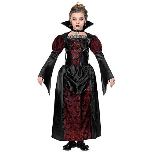 NET TOYS Edles Gothic-Kleid Vampirin mit Stehkragen für Mädchen - Schwarz-Rot 140, 8 - 10 Jahre - Außergewöhnliches Kinder-Kostüm Vampirella - Perfekt geeignet für Halloween & Mottoparty