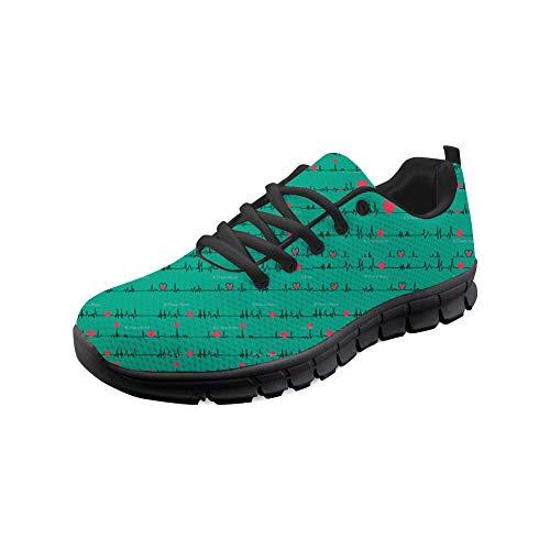 Coloranimal Black Road Walking Zapatillas con Cordones para Mujeres Hombres Unisex Air Cushion Flats Enfermera Heartbeat Design Casual DailyShoes EU39