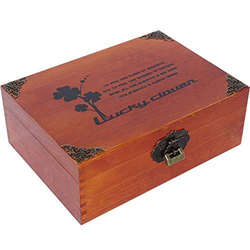 チヤミ 木箱鍵付き収納箱ギフトボックス木製宝石箱収納ボックス収納ケースインテリア雑貨(ラッキークローバーM)