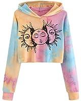 Crop Hoodie for Women Ightweight Teen Girls Tie Dye Crop Top Cute Graphic Long Sleeve Pullover Hooded Sweatshirt Black