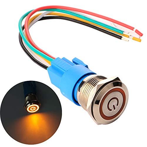 Gebildet 19mm Enclavamiento Pulsador de Botón Metálico Interruptores Acero Inoxidable Impermeable Plana Top ON/Off 12V-24V 5A Pulsador con Enchufe de Cable(LED Naranja)