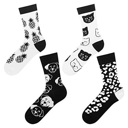 soxo Damen Socken (4 Paar) | 4 Schwarz-weiss Muster | Lustige Frauen motiv socken Ideale Geschenk idee