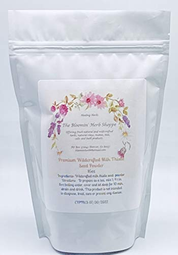 Wildcrafted Milk Thistle Seed Powder 16oz 1 lb Raw Silybum Marianum The Bloomin Herb Shoppe Pure Aromatic Potent Hand Packed