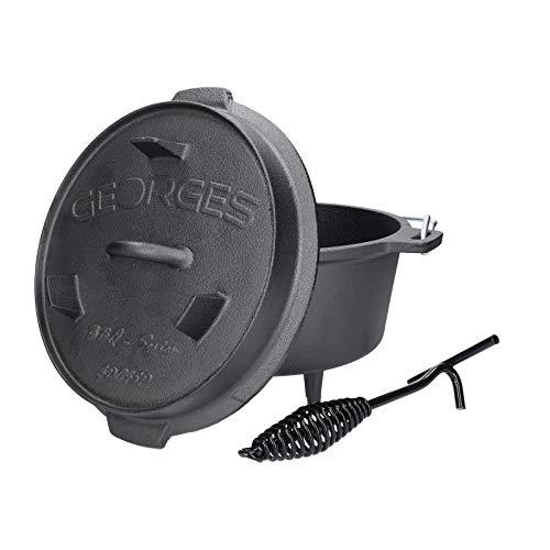 TALK-POINT Georges BBQ Series – Premium Dutch Oven mit Füßen | Verschiedene Größen | preseasoned – bereits eingebrannt | Gusseiserner Kochtopf, Bräter | inkl. Deckelheber (GDP45P (ca. 4,5 Liter))