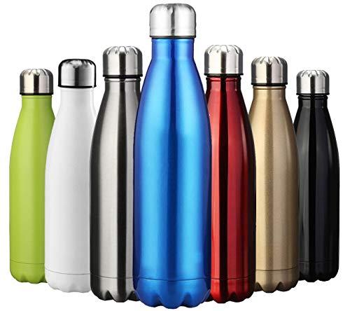ZUSERIS Thermobecher Doppelwandige Trinkflasche Edelstahl Sportflasche Wasserflasche Camping Reisebecher Thermosflasche Haelt Getraenke 12 Stunden Kalt & 24 Heiß BPA Frei - (Blau, 1000ml-34oz)